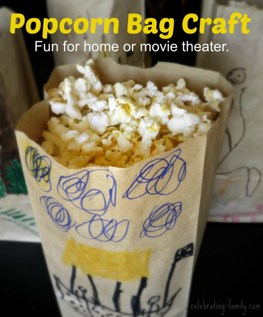 Popcorn bag craft - a fun idea for moviegoers.