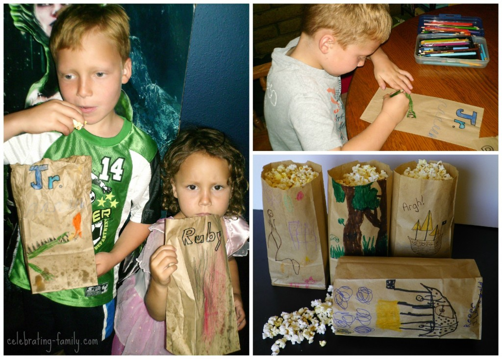 Popcorn bag craft - fun for your next trip to the movies.