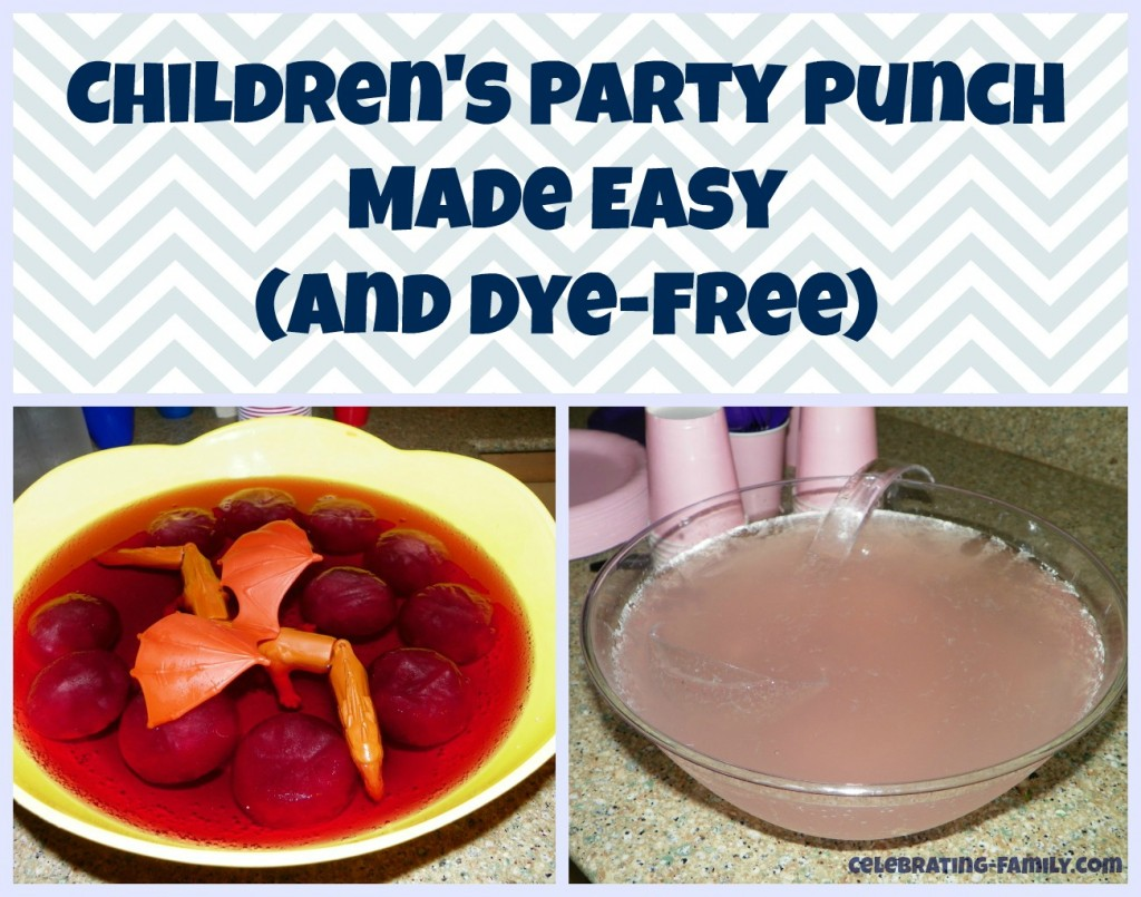 Easy party punch recipes for kids. Two dye-free ideas that are delicious and fun!