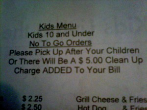 Should restaurants charge for messy kids?