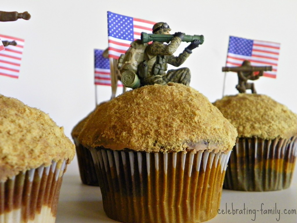Army Camouflage Cupcakes by Celebrating Family