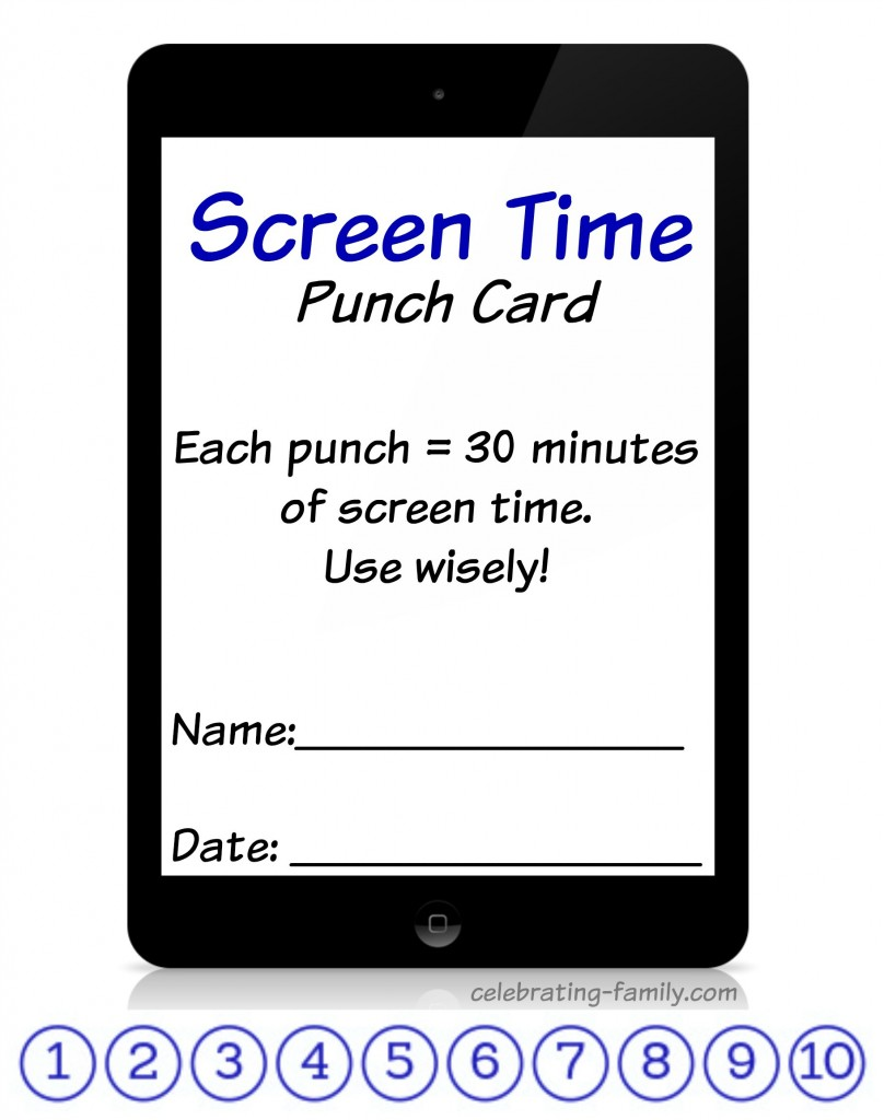 Screen Time Punch Card (Free Printable)