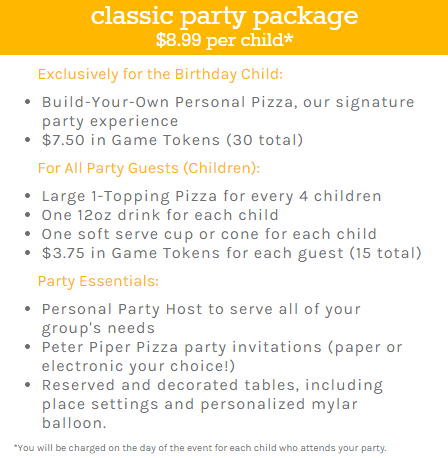 Peter Piper Pizza birthday party packages.