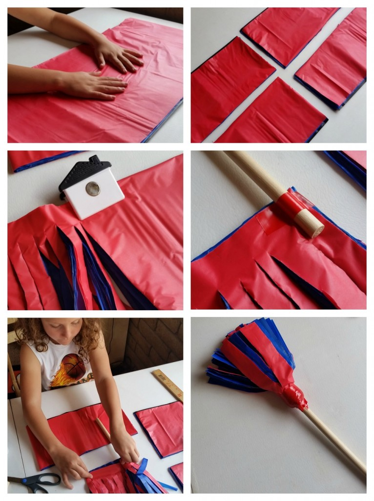 DIY Pom Poms from plastic tablecloths