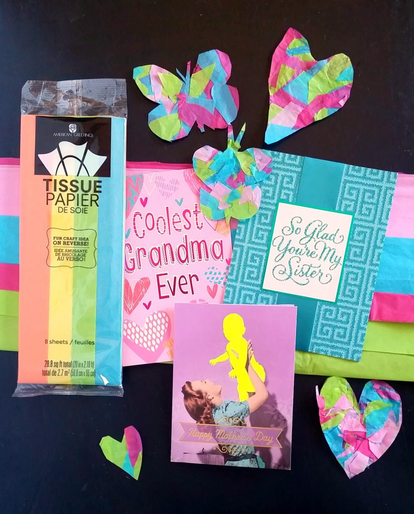 Tissue paper suncatchers head out and grab some american greetings cards and do not forget to look for the coupon i found the coupon in the middle of the mothers day cards kristyandbryce Choice Image